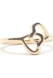 Anel Dois Corações Di Capri Semi Jóias X Ouro Dourado