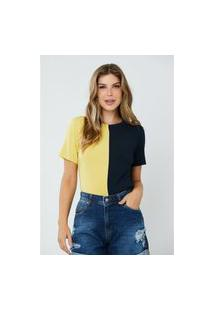 Blusa Feminina Bicolor Elen Amarela E Marinho