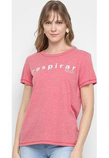 Camiseta Colcci Básica Respirar Feminina - Feminino-Vermelho