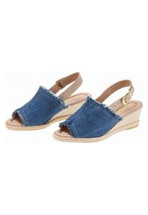 Sandália Anabela Espadrille Jeans Azul Italeoni