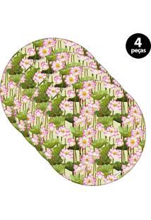 Sousplat Mdecore Floral 32X32Cm Verde 4Pçs