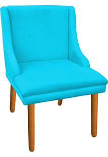 Cadeira Sala De Jantar Liz Suede Azul D'Rossi