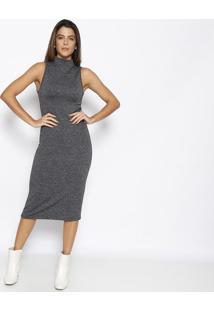 Vestido MãDi Texturizado- Cinza Escuro- Sommersommer