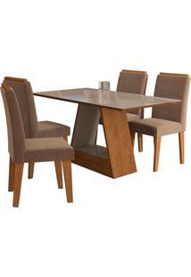 Conjunto De 4 Cadeiras Para Sala De Jantar 130X80 C/Molduraalana/Milena-Cimol - Savana / Off White / Pluma