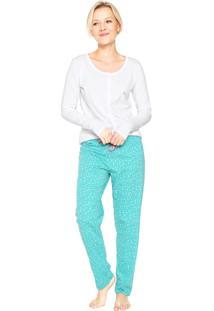 Pijama Malwee Liberta Estampado Branco/Verde