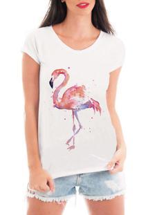 Blusa Criativa Urbana Flamingo Colors Aquarela Branco