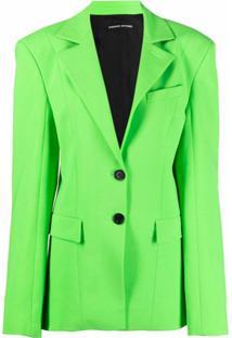 Kwaidan Editions Blazer Com Abotoamento Simples E Ombros Matelassê - Verde