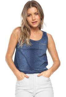 Regata Jeans Lunender Evasê Azul