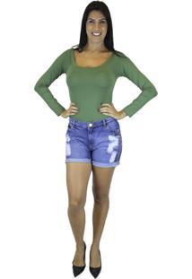 Body Nua Duza Liso Em Poliamida Verde Militar