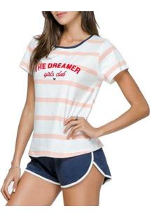 Pijama Cor Com Amor 12123 Feminino - Feminino-Branco+Marinho