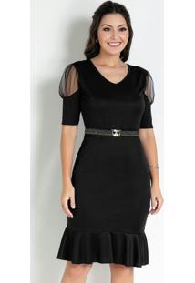 Vestido Com Transparência Preto Moda Evangélica