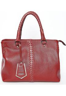 Bolsa Transversal Em Couro Com Bag Charm- Bordô- 24Xiódice