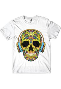 Camiseta Long Beach Caveira Headfones Sublimada Masculina - Masculino
