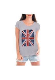 Camiseta Criativa Urbana Bandeira Londres Cinza