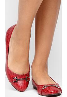 Sapatilha Shoestock Crocão Bridão Metal - Feminino-Vermelho