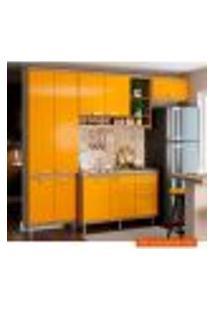 Cozinha Compacta Sicília Iii 9 Pt 3 Gv Argila E Amarela