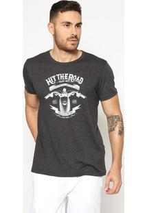"Camiseta ""Hit The Road""- Cinza Escuro & Branca- Trittriton"