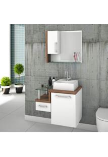 Gabinete Para Banheiro Com Cuba Quadrada Q32 E Espelheira Com Porta Legno 630W Compace Branco/Nogal