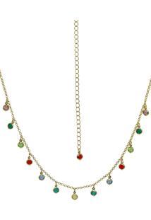 Gargantilha Infine Choker Zircã´Nias Pedrinhas Coloridas Multicolor Banhado A Ouro - Dourado - Feminino - Dafiti