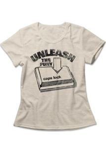 Camiseta Feminina Caps Lock - Feminino-Mescla