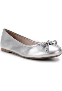 Sapatilha Couro Shoestock Bico Redondo Laço Strass Feminina - Feminino-Prata