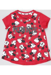 Blusa Infantil Minnie Com Glitter Manga Curta Decote Redondo Vermelha