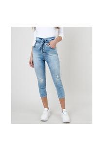 Calça Jeans Feminina Sawary Skinny Clochard Cintura Alta Com Faixa Para Amarrar Azul Claro