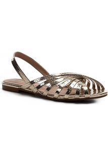 Rasteira Shoestock Slingback Tiras Metalizadas - Feminino-Dourado