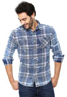 Camisa Jeans Hering Regular Xadrez Azul