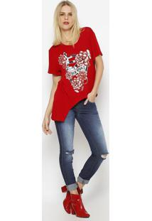 Blusa Assimã©Trica ''New Royals'' - Vermelha & Brancatriton