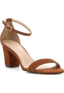 Sandália Couro Shoestock Salto Bloco Médio Feminina - Feminino-Marrom Claro