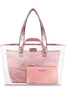 Bolsa De Ombro Jacki Design Estampa Diamante Kit 3 Peças Rosa