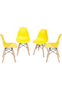 Jogo De Cadeiras Eames Dkr- Amarelo & Madeira- 4Pçs