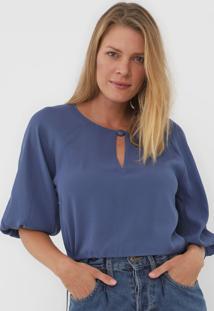 Blusa Cropped Maria Filó Recorte Azul
