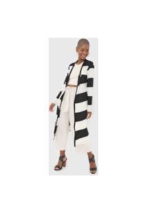 Maxi Cardigan Dress To Listrado Off-White/Preto