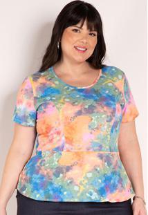 Blusa Tie Dye Com Peplum Plus Size