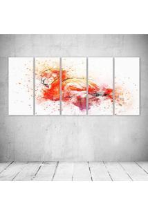 Quadro Decorativo - Flamingo - Composto De 5 Quadros - Multicolorido - Dafiti