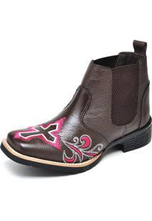 Botina Texana Click Calçados Cano Curto Bico Quadrado Bordado Cruz