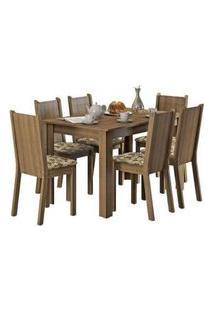 Conjunto Sala De Jantar Madesa Maris Mesa Tampo De Madeira Com 6 Cadeiras Rustic/Bege Marrom Rustic/Bege Marrom