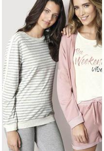 Pijama Feminino Em Malha De Algodão Com Fio Tinto E Detalhe
