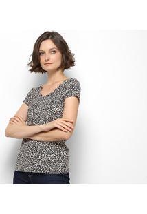 Blusa Lez Lez Estampada Gola V Feminina - Feminino-Onça+Preto
