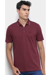 Camisa Polo Calvin Klein Logo Masculina - Masculino-Bordô