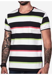 Camiseta Listrada Com Bolso 102158