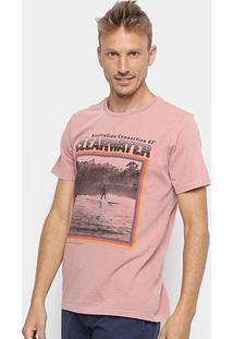 Camiseta Redley Tinturada Silk Clear Water Masculina - Masculino-Rosa