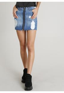 2a6268db0 R$ 79,99. CEA Saia Algodão Jeans Destroyed Zíper Curta Clock Azul Com  Rasgos Argola De Feminina Médio
