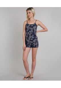 Short Doll Feminino Estampado Paisley Alça Fina Azul Marinho