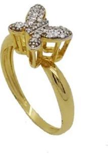 Anel Borboleta Cravejadas - Dourado - Feminino - Dafiti