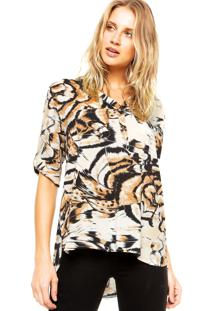 Camisa Holin Stone Animal Print Bege