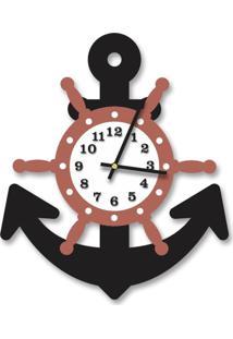Relógio De Parede Decorativo Escultura Âncora Preto Ônix Com Timão E Números Relevo 35X40Cm Médio
