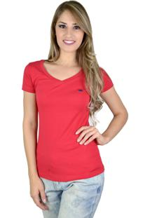 Camiseta Red Life Básica V Bordô